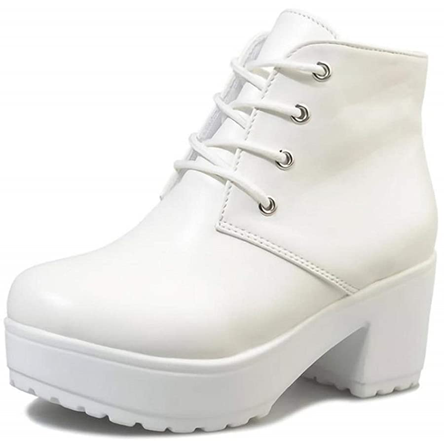 削減自分見捨てられた[ジルア] ショートブーツ 厚底 太ヒール 22.0cm~27.5cm レースアップ レディース 靴 紐 軽量 ブラック ホワイト #061