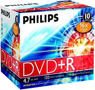 Philips DVD+R 16x 4.7GB / 120min JC(10) 4.7GB 10pc(s) - blank DVDs (4.7 GB, 10 pc(s), 120 min, 147 x 111 x 131 mm)