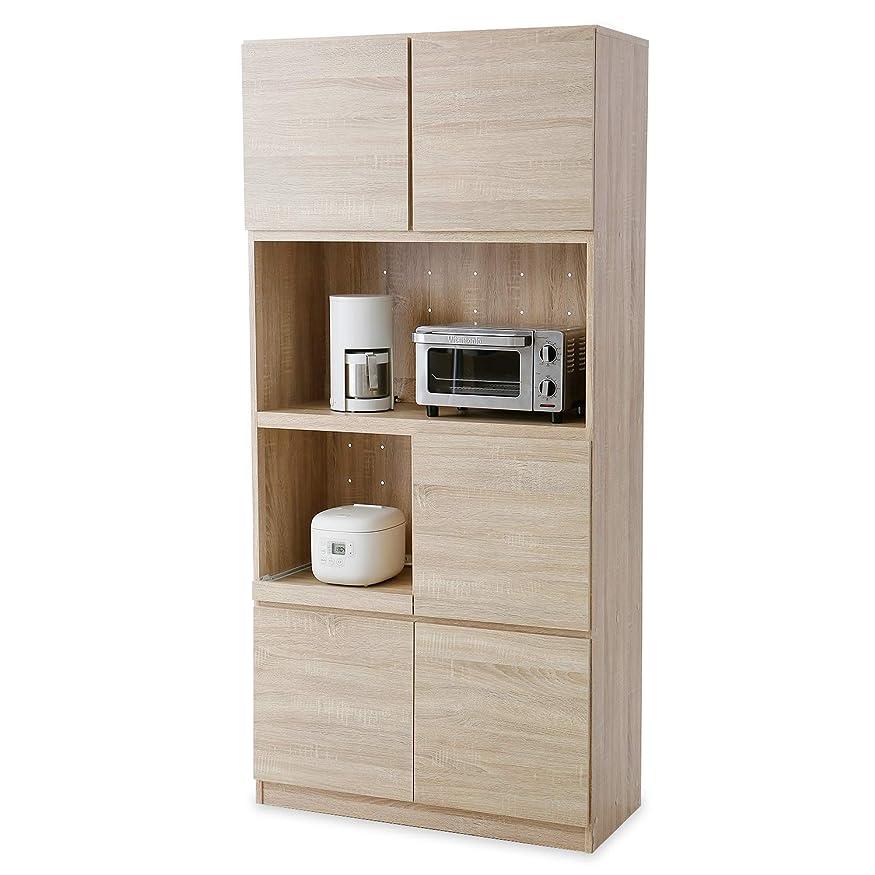 主花抗生物質LOWYA 食器棚 壁面収納 可動棚 キッチン収納 高さ190×幅90cm オーク