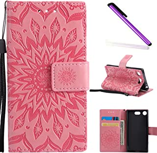 HMTECH Sony Xperia XZ1 Compact case Sun Flower Embossed Floral Wallet Case Card Slots Kickstand PU Leather Flip Stand Cove...