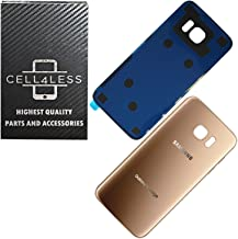CELL4LESS Compatible Back Glass Cover Back Battery Door w/Pre-Installed Adhesive Replacement for Samsung Galaxy S7 Edge OEM - All Models G935 All Carriers- 2 Logo - OEM Replacement (Gold Platinum)