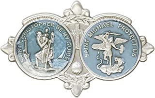 Antique Silver St Christopher & St Michael the Archangel Visor Clip. Patron Saint of Police Officers & Emt's & Protection