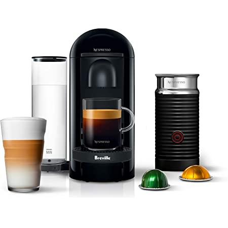 Nespresso BNV450IBL VertuoPlus Espresso Machine with Aeroccino by Breville, Ink Black