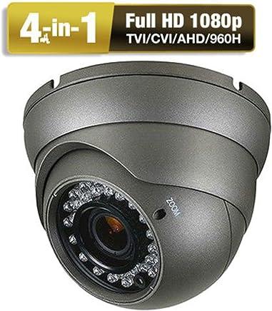 CCTV Camera  HD 1080p 4-In-1 (TVI/AHD/CVI/CVBS) Security Dome Camera  Analog  2.8mm-12mm Varifocal Lens 100ft IR Indoor & Outdoor Weatherproof IP66 (Gray)