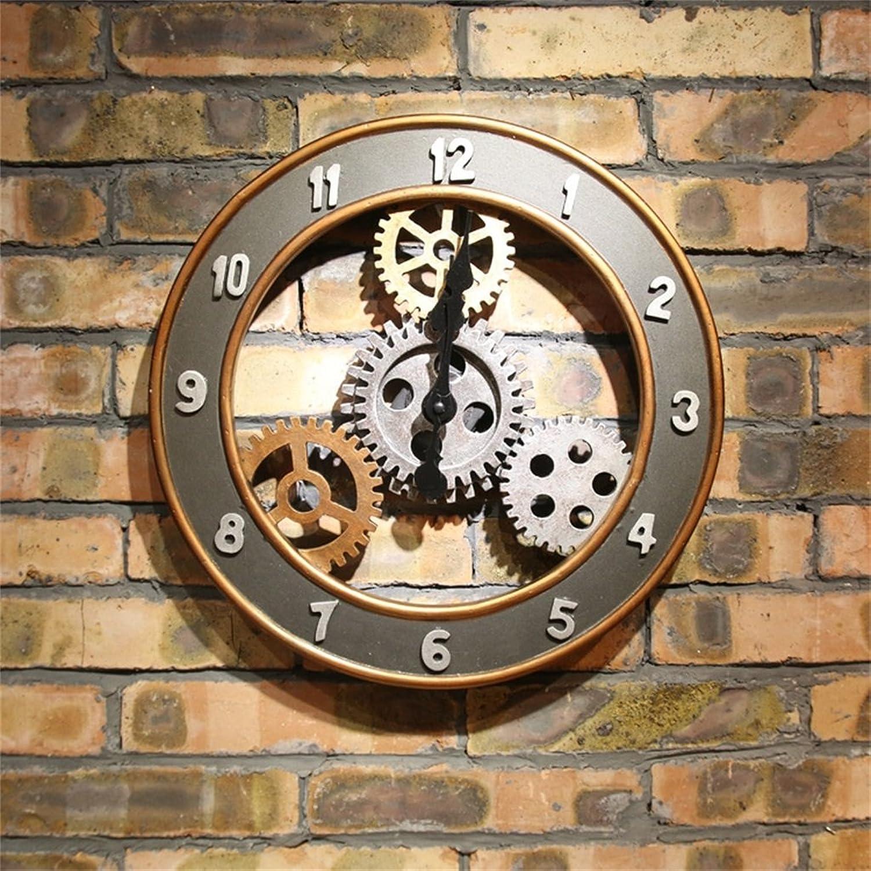 mejor precio 38cm (D)   14 pulgadas Relojes Relojes Relojes de parojo silenciosos, Non ticking Round Hollow Pegatinas de parojo grandes Gear 3D Reloj de parojo digital Creative Bar   Cafe   Living Room Decoración de parojo de madera  entrega rápida
