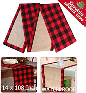 OurWarm Extra Long Christmas Table Runner Cotton Burlap Buffalo Check Reversible Waterproof Red Black Plaid Table Runner for Christmas Holiday Table Decorations Birthday Party Supplies, 14 x 108 Inch