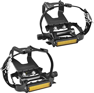 SEQI Bike Pedals with Clips and Straps, for Spin Bike, Exercise Bike and Outdoor Bicycles, 9/16-Inch Spindle Resin/Alloy B...