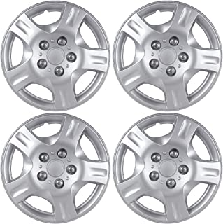OxGord 15 inch Hubcaps Best for 2014-2017 Kia Forte - (Set of 4) Wheel Covers 15in Hub Caps Silver Rim Cover - Car Accessories for 15 inch Wheels - Snap On Hubcap, Auto Tire Replacement Exterior Cap