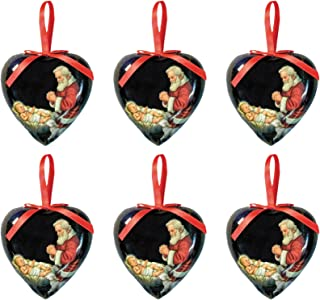 Adoring Santa Heart Shaped Christmas Decoupage Ornament, 3 Inches, Pack of 6
