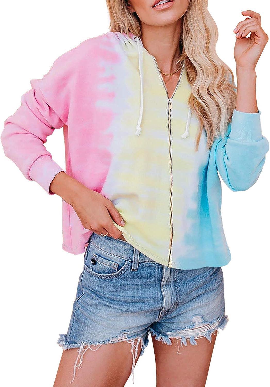 Sidefeel Women List price Printed Long Sleeve Max 46% OFF Zip Hoodie Up S Jacket Casual