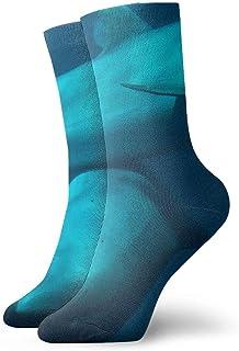 Apareamiento de delfines bajo el mar Calcetines cortos transpirables Calcetines clásicos de algodón de 30 cm para hombres Mujeres Yoga Senderismo Ciclismo