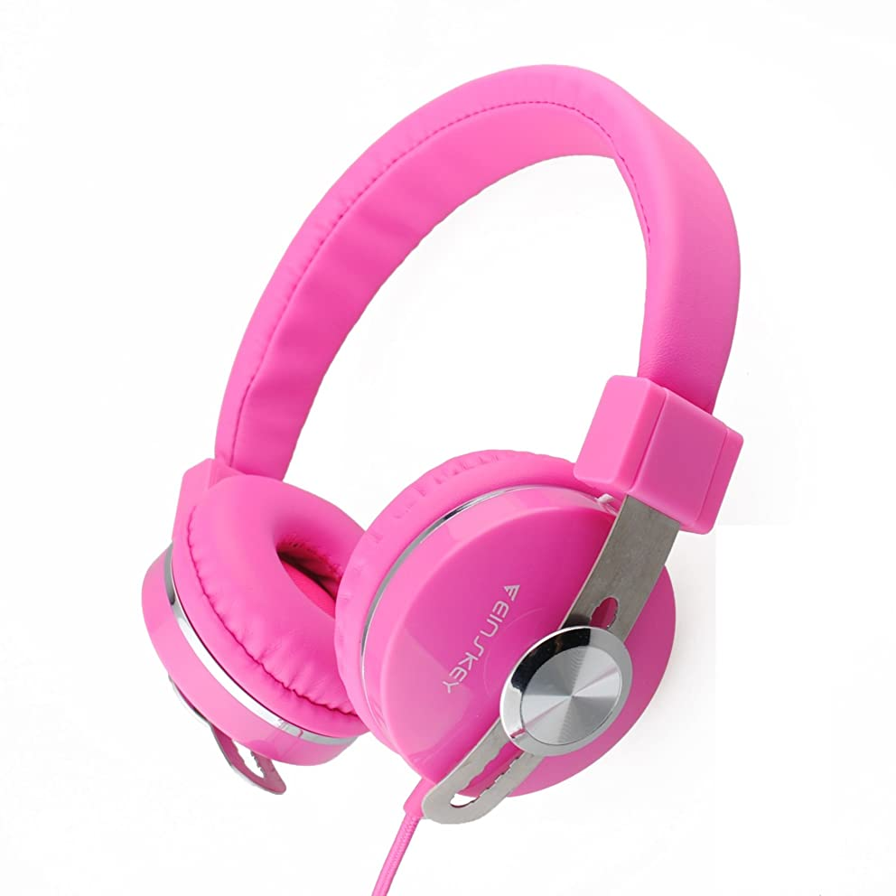 Kids Headphones for Girls, Wired On-Ear Headsets with Microphone, Comfortable Lightweight & Foldable Design for Children (Pink)