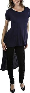ToBeInStyle المرأة المعاصرة عالية منخفضة الطول قصيرة الأكمام المحملة