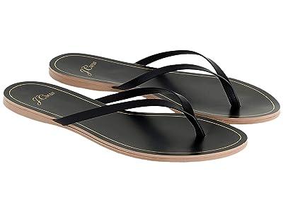 J.Crew New Capri Leather Flip-Flop (Black) Women