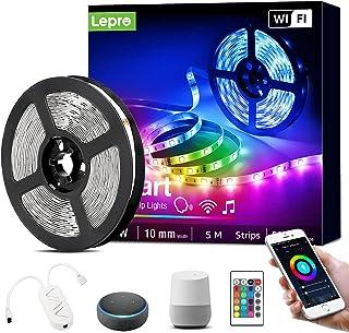 Lepro Smart LED Strip 5M Musiksteuerung,Wifi LED Streifen RGB Dimmbar, Wlan LED Band,Superhell Lichtband Selbstklebend,Far...