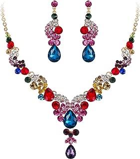 SimpleLife Conjunto de Joyas Gotitas de Agua Colgante con Collar de Mujer Elegante y Conjunto de aretes