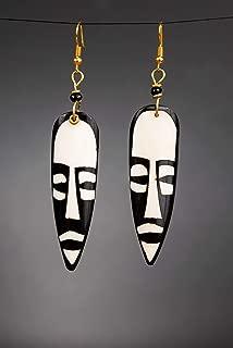 Handmade Long African Bone Earrings - Kenya Tribal Earrings - Ebony Black - Length: 3.5 Inches (with hooks)