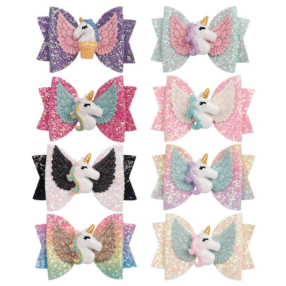 8pcs Unicorn Hair Bows Bargain for 3 Girls low-pricing Inch Glitter