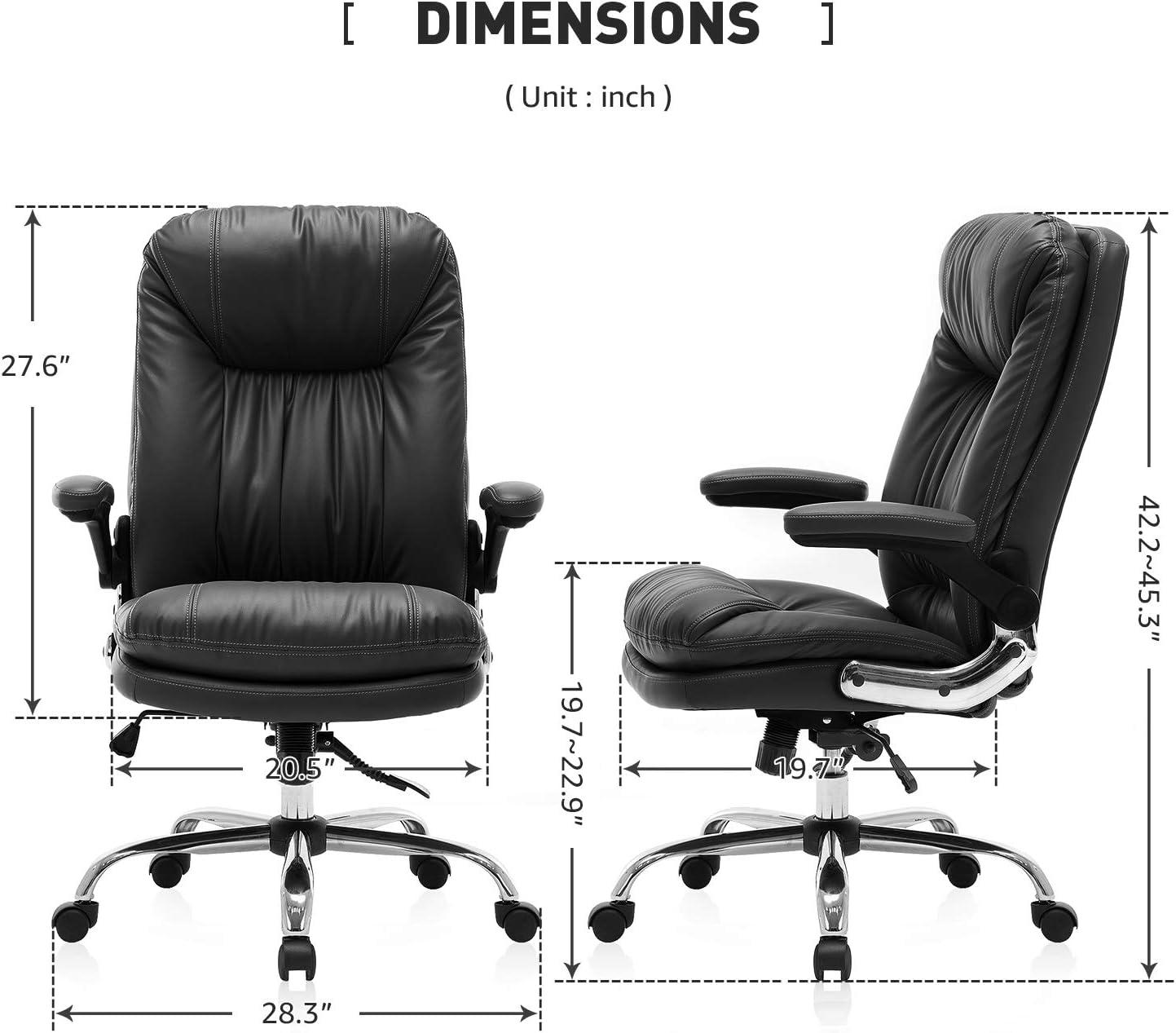 sedia da ufficio in pelle con schienale alto per casa e camera da letto YAMASORO Sedia da ufficio ergonomica con braccioli e supporto per schienale ribaltabili colore nero