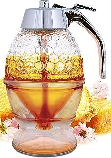 Honey Dispenser No Drip Glass – Maple Syrup Dispenser Glass – Beautiful Honey..