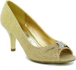 7cbb5a8d20502 Lasonia Glitter Peep-Toe Medium Heels Dress Formal Shoes with Rhinestone  Bow M7742