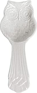 MyGift White Ceramic Owl Cooking Spoon Rest/Ladle Holder