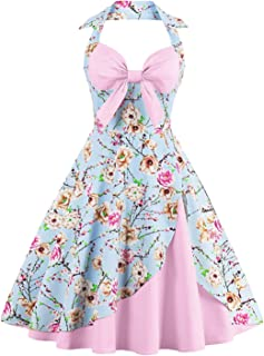 Women Plus Size Floral Print Pin up Halter Summer Dresses