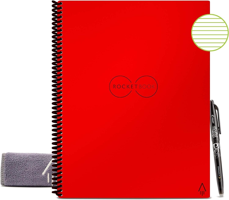 Executive A5 Kariert Gr/ün Inklusive Pilot FriXion Stift und Mikrofasertuch Rocketbook Unbegrenzt Wiederverwendbares Notizbuch