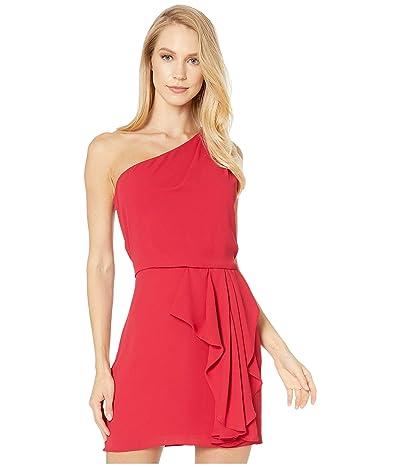 Halston One Shoulder Drape Front Dress (Carmine) Women