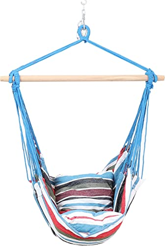 lowest Sunnydaze Hanging Rope Hammock Chair Swing - Double Cushion new arrival Hanging Chair Seat for Backyard & Patio popular - 265 Pound Capacity - Cool Breeze online