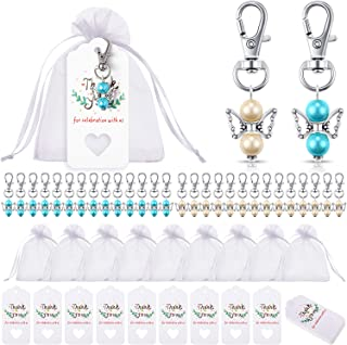 90 Pieces Angel Design Keychain Favors Set Include Angel Pearl Keychains White Organza Gift Bags and Thank You Tags for Ba...