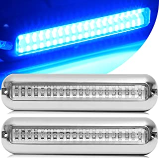 HUSUKU Pro 60LED Marine Led Lights for Boat Underwater, 2PCS, 6.7inch, IP68, 316 Stainless Steel, Surface Mount for Yacht ...