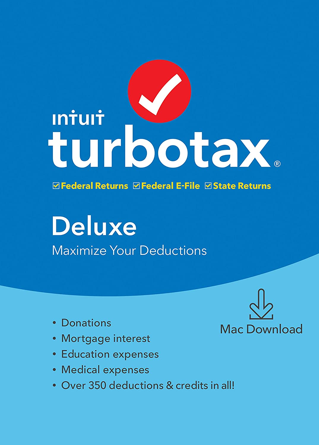 [Old Version] TurboTax Deluxe + State 2019 Tax Software [Mac Download]