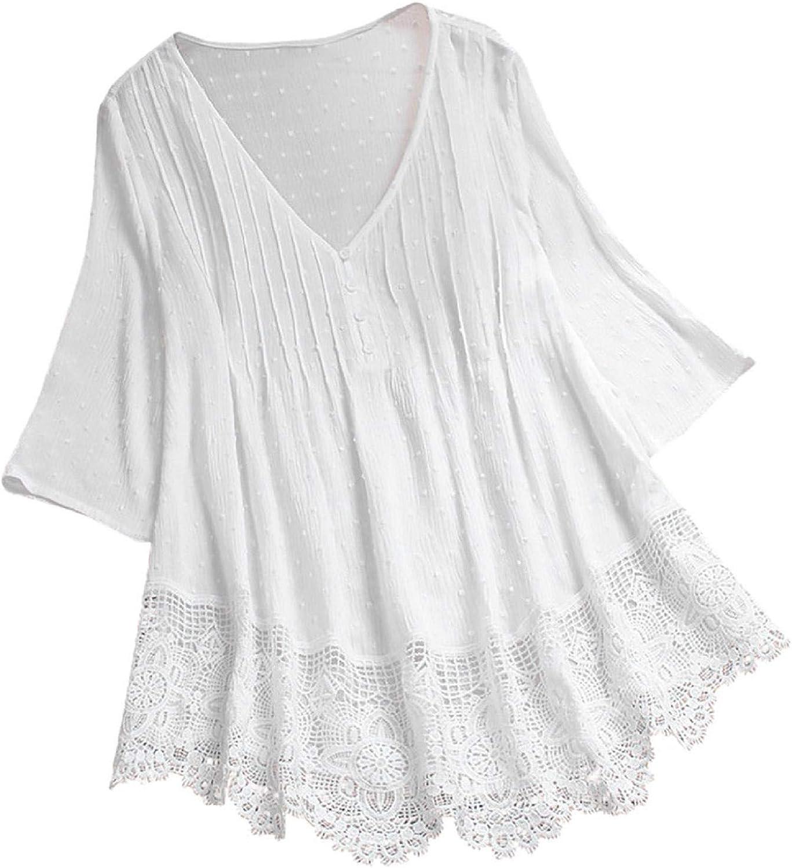 TOTOD Linen Blouse for Women Elegant Jacquard 3/4 Sleeve Lace Hem T-Shirt Plain Color Ladies V-Neck Plus Size Top US 4-20