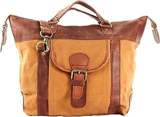 LECONI Henkeltasche Shopper Damen Tasche Vintage-Style Canvas + Leder Handtasche Used-Look Damentasche Frauen Schultertasc...