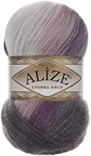 20% Wool 80% Acrylic Soft Yarn Alize Angora Gold Batik Thread Crochet Lace Hand Knitting Turkish Yarn Lot of 4skn 400gr 2408yds Color Gradient 1986
