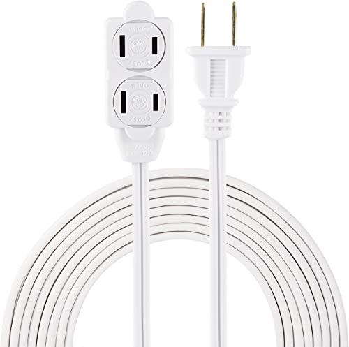 GE 12 Ft Extension Cord, 3 Outlet Power Strip, 2 Prong, 16 Gauge, Twist-to-Close Safety Outlet Covers, Indoor Rated, ...