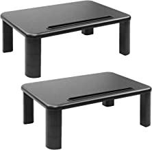 Monitor Stand Riser with Adjustable Height and Storage Organizer for Computer, iMac, Printer, Laptop, Desk with Tablet & Phone Holder, Cable Management Slot (Black, 2 Pack)