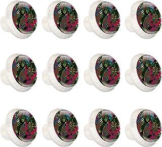 Boutons D'armoire 12 Pcs Poignés Poignée De Champignons Porte Poignées avec Vis pour Cabinet Tiroir Cuisine,Congé vert