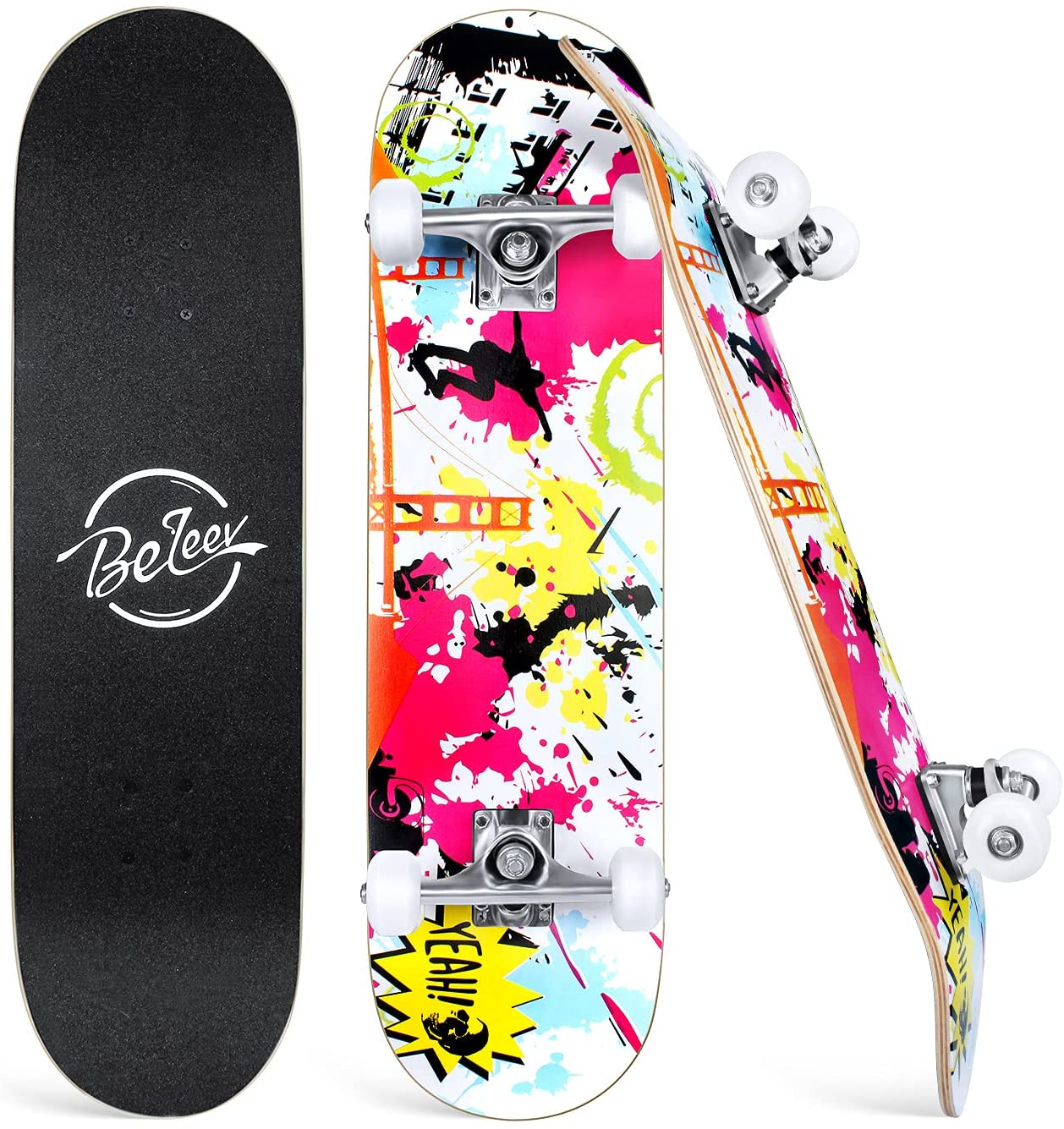 Beleev Skateboards for Beginners, 31 Inch Complete Skateboard for Kids Teens Adults, 7 Layer Canadian Maple Double Kick Deck Concave Cruiser Trick Skateboard (Pink) : Sports & Outdoors