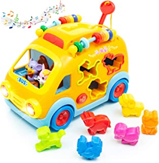 Zenteck Musical Shape Sorting Bump 'N Go Yellow School Bus Toy Child-Safe, BPA-Free, Sturdy   Learn Animals, Colors, Numbers, Basic Life Skills w/Music & Sounds   Gift Toy for Babies & Toddlers