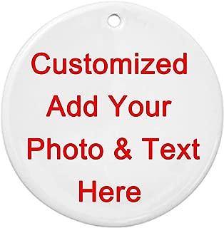FKC DESIGN Personalized Custom Handmade Round Ceramic Ornament - Add Photo Logo Text Double-Sided Printing,Christmas Tree Decor-ation Xmas Engagement Wedding Anniversary.