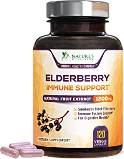 Elderberry Capsules Highest Potency Flu & Cold Relief 1200mg - Immune Support Black Sambucus Nigra Extract Pills - Made is...