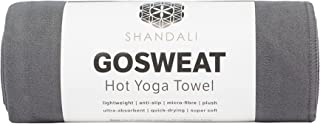 (Hand Towel - 16 x 26.5, Gray) - SHANDALI GoSweat Non-Slip Hot Yoga Towel with Super-Absorbent Soft Suede Microfiber in Ma...