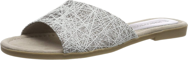 Marco Tozzi Women's Taupe Metallic Combi Flat Slider Sandal