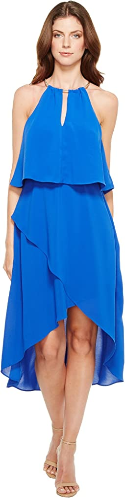 Gauzy Crepe Popover High-Low Dress with Wrap Skirt and Hardware on Neckline