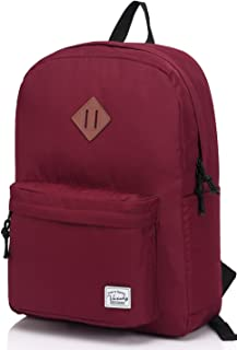 Vaschy Lightweight Backpack,20 Liters Classic Waterproof Collapsible Daypack for Sports and Traveling,Teenagers School Book Bag with Bottle Side Pockets Burgundy