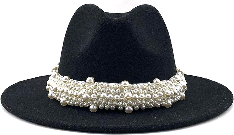GEMVIE Women's Vintage Pearl Band Fedora Hat Classic Wide Brim Trilby Panama Hat Jazz Cap