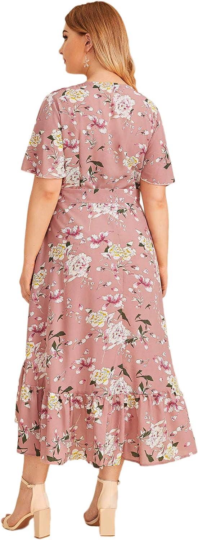 Milumia Plus Size Short Sleeve Wrap V Neck Belted High Waist Maxi Dress