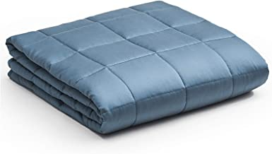 YnM Bamboo Weighted Blanket — 100% Cooling Bamboo Viscose Oeko-Tex Certified Material with Premium Glass Beads (Blue Grey,...